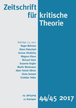Cover: Zeitschrift für kritische Theorie, Heft 44/45