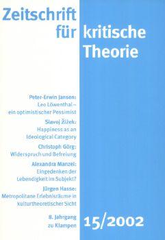 Cover: Zeitschrift für kritische Theorie, Heft 15