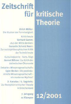Cover: Zeitschrift für kritische Theorie, Heft 12