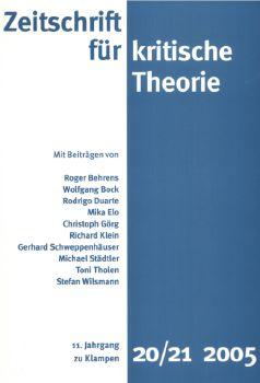 Cover: Zeitschrift für kritische Theorie / Zeitschrift für kritische Theorie, Heft 20/21