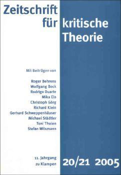 Cover: Zeitschrift für kritische Theorie, Heft 20/21