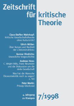Cover: Zeitschrift für kritische Theorie / Zeitschrift für kritische Theorie, Heft 7