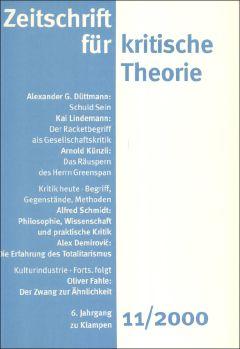 Cover: Zeitschrift für kritische Theorie, Heft 11