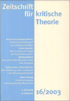 Cover: Zeitschrift für kritische Theorie, Heft 16