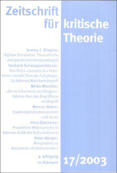 Cover: Zeitschrift für kritische Theorie, Heft 17